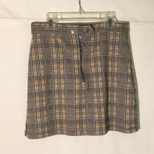 Zip popper checkered mini skirt